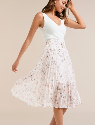 Forever New Alexis Pleated Georgette Skirt - Blush Sweet Dream Floral - 10