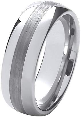 Theia Nickel Free Tungsten - Highly Polished with Matted strip - 8mm Wedding Ring for Gents - Size O