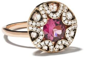 Selim Mouzannar 18kt rose gold diamond rhodolite Mille et Une Nuits ring