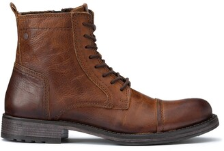 Jack and Jones Jfwrusse Leather Lace-Up Ankle Boots