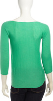 Neiman Marcus Cashmere Three-Quarter-Sleeve Sweater, Green