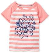 Levi's Girls 4-6x) Pink Stripe Flocked Logo Tee