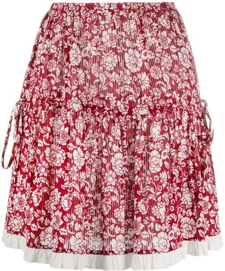 See by Chloe Floral-Print Cotton Skirt