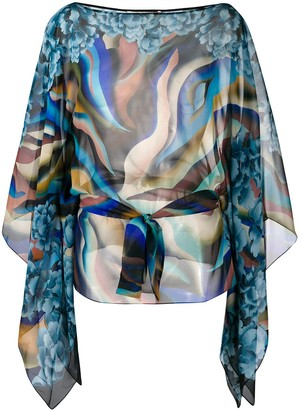 Roberto Cavalli Abstract Print Silk Blouse