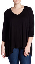 Adrienne Vittadini 3/4 Shirred Sleeve V-Neck Blouse (Plus Size)