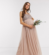 Maya Maternity Bridesmaid sleeveless square neck maxi tulle dress with tonal delicate sequin overlay in taupe blush
