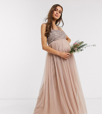 Maya Maternity Bridesmaid sleeveless square neck maxi tulle dress with tonal delicate sequin overlay in taupe blush-Brown