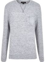 River Island MensGrey marl long sleeve crew neck sweater