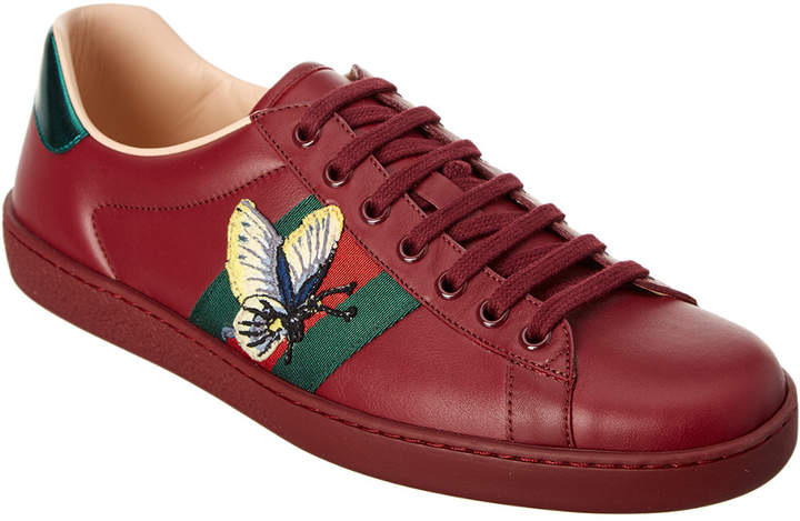 Gucci Ace Butterfly Embroidered Leather Sneaker