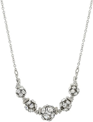 1928 Silver Tone Simulated Crystal Graduated Fireball Bead Necklace