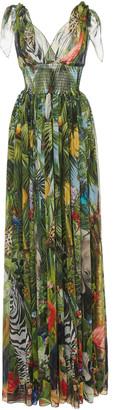 Dolce & Gabbana Smocked Printed Silk-Chiffon Maxi Dress