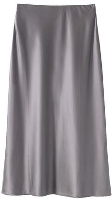 Voya Silver Silk Midi Skirt