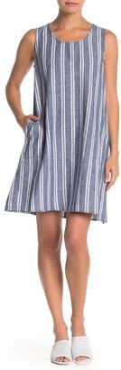 Max Studio Striped Linen Blend Shift Dress