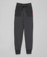 U.S. Polo Assn. Heather Charcoal Quilted Pocket Sweatpants - Girls