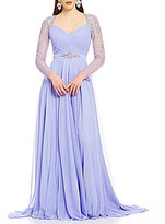 Terani Couture Sweatheart Neck Long Beaded Sleeve Chiffon Gown