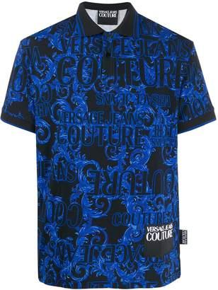 Versace baroque logo print polo shirt