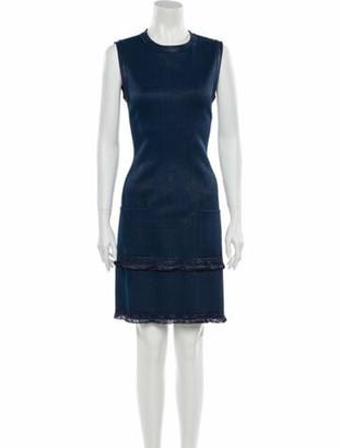 Alaia Crew Neck Knee-Length Dress Blue