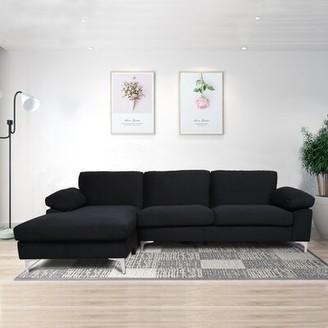 """Orren Ellis Flaner 103.5"""" Velvet Left Hand Facing Sofa & Chaise Fabric: Black"""
