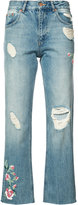 Anine Bing distressed cropped jeans - women - Cotton - 24