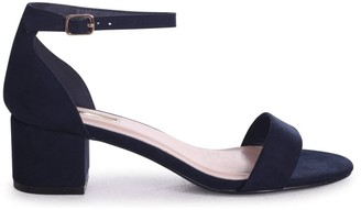 Barely There Linzi HOLLIE - Navy Suede Block Heeled Sandal With Closed Back
