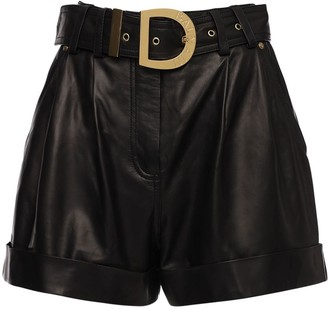 Balmain High Waist Leather Shorts W/ Belt
