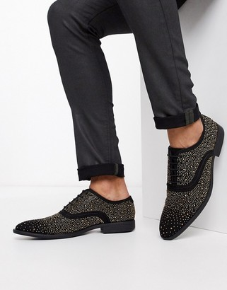 ASOS DESIGN lace up dress shoes in black velvet with all over studs