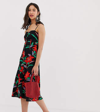 Parisian Tall cami strap midi dress in tropical floral-Black