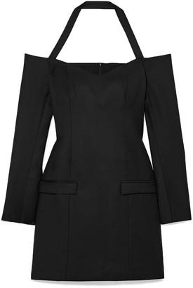 ANNA QUAN Nina Off-the-shoulder Wool-twill Mini Dress