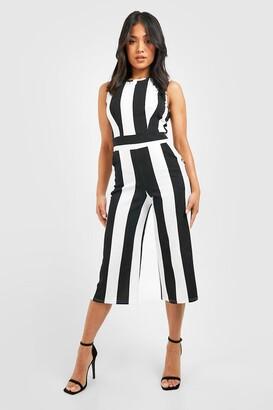 boohoo Petite Monochrome High Neck Striped Jumpsuit