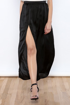 Reverse Satin Slit Maxi Skirt