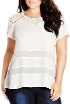 City Chic Embroidered Sheer Inset Top