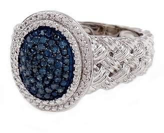 Savvy Cie Blue Diamond Accent Braid Texture Ring - 0.25 ctw
