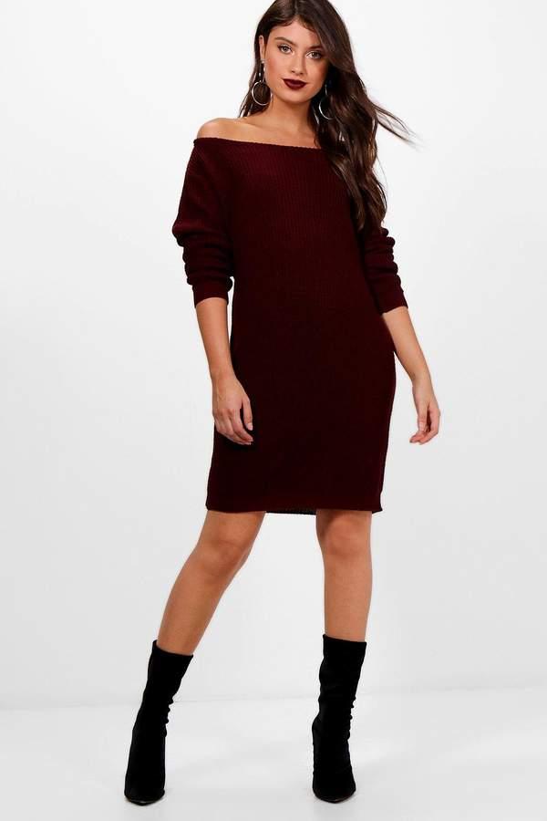 boohoo Off The Shoulder Slouchy Jumper Dress