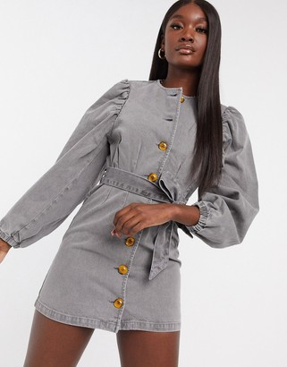 ASOS DESIGN denim puff sleeve belted dress in washed gray