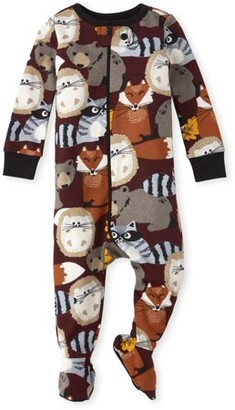 Children's Place The Long Sleeve All Around Sport 'Game Day' 'Game On' Print Footed Stretchie (Baby Boy)