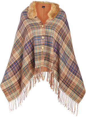 Lvs Collections LVS Collections Women's Outerwear Capes MAUVE - Mauve Plaid Fringe Faux Fur-Collar Cape - Women