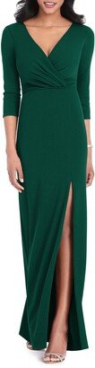 After Six Surplice Stretch Crepe Trumpet Gown