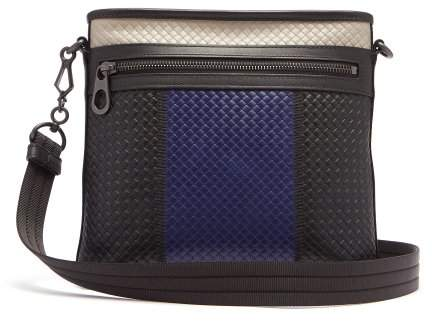 Bottega Veneta Intrecciato Colour Block Leather Messenger Bag - Mens - Black Multi