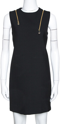 Versace Black Knit Shoulder Zip Detail Sleeveless Dress M
