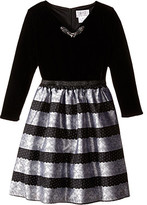 Us Angels Velvet Lace Stripe Brocade 3/4 Sleeve w/ Full Skirt (Big Kids)
