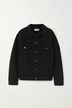 Balenciaga Oversized Crystal-embellished Denim Jacket - Black