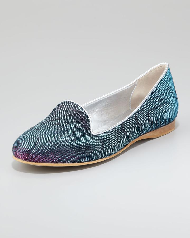 Dee Keller ReeRee Damask Hologram Smoking Slipper, Blue/Pink
