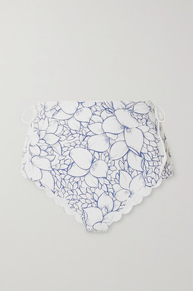 Marysia Swim Palm Springs Scalloped Lace-up Floral-print Stretch-crepe Bikini Briefs