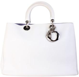 Christian Dior White Leather Large Diorissimo Tote
