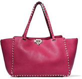 Valentino The Rockstud Medium Textured-leather Tote - Pink