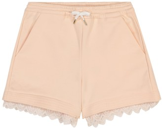 Chloé Kids Embroidered cotton-blend shorts