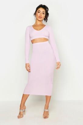 boohoo Long Sleeve Crop & Midaxi Skirt Rib Two-Piece Set