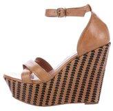 Pour La Victoire Leather Platform Wedge Sandals