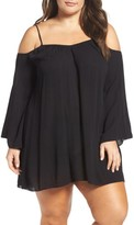 Plus Size Women's Elan Cold Shoulder Cover-Up Tunic