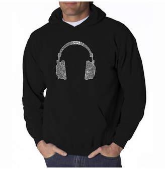La Pop Art Men Word Art Hoodie - Headphones - 63 Genres of Music